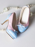 A-S Elegant Blue & Pink Bow High Heel Shoes (SH31074)