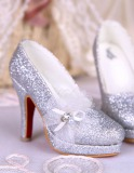 A-S Dreaming Crystal Silver High Heel Shoes (SH315035)